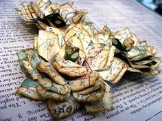 Flowers made from maps