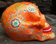 Ceramic, plaster skull, hand painted with acrylic paint, sugar skull, day of the dead, dia de los muertos. Life size skull.