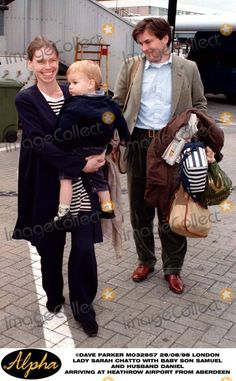 Lady Sarah Chatto with Baby Son Samuel and Husband Daniel Arriving at Heathrow From Aberdeen.