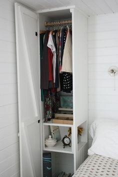 built in closet/dresser/night stand on either side of bed in master- this one has a single door but needs at least drawers/pull out shelving