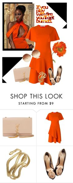 """Orange"" by poshscarlet ❤ liked on Polyvore featuring Yves Saint Laurent, Givenchy, Q&Q, Giuseppe Zanotti and Linda Farrow"