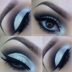 makeuphall:  40 Eye Makeup Looks For Brown Eyes: Silver and http://www.qunel.com/  fashion street style beauty makeup hair men style womenswear shoes jacket