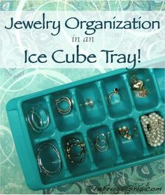 Dont have your fancy jewelry box on the road? pick up some cute inexpensive ice cube trays at your local store and use them to organize rings, small earrings, and bracelets that are able to fit