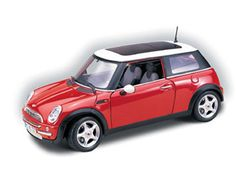 This Mini Cooper With Sunroof Cast Model Car Is Red And Features Working Wheels Steering