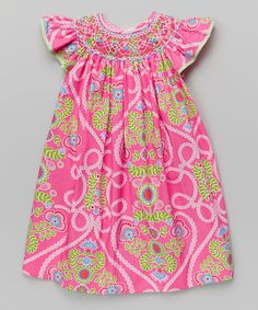 Another great find on Hot Pink   Green Floral Bishop Dress - Infant e7df12f0ab05