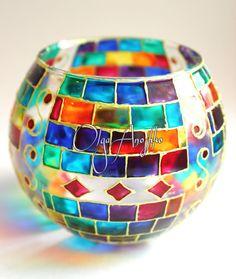 Mosaic Vase Candle Holder Rainbow Stained от RomanticArtGlass