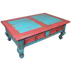 Red Blue Painted Wood Southwest Coffee Table ($895) ❤ liked on Polyvore featuring home, furniture, tables, accent tables, red accent table, wooden coffee tables, blue table, red wood table and red table