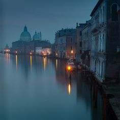 Blue mood in Venice. Early morning view from Ponte dell Academia.