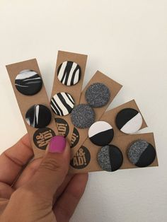 Large Round Polymer Clay Stud Earring Black White Granite