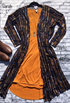 Pumpkin Spice with a Sarah So Nice!! This Golden Orange solid Large Carly and Large Sarah are AMAZING set...picture this with a pair of brown boots and you have one amazing outfit!!! https://www.facebook.com/groups/lularoelauracottell/