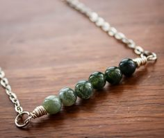 Moss Agate Ombre Necklace with Silver Wire and by HSigneDesigns, $21.50