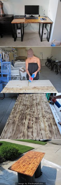 Use a blow torch to create a duo-tone effect on wood. Lay the torch at such an angle that the flame licks across the surface as you move horizontally. After that wipe it down with a wet cloth and start the staining process. Assemble the legs and the shel Diy Wood Projects, Furniture Projects, Wood Furniture, Home Projects, Teds Woodworking, Woodworking Projects, Duo Tone, Diy Holz, Carpentry