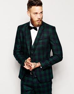Enlarge Sisley Tartan Suit Jacket In Slim Fit