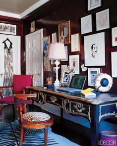 Office with lacquered black walls