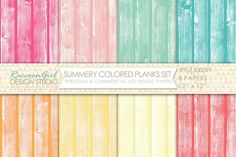 Check out Summery Colored Wood Planks Set by RaccoonGirl Design on Creative Market