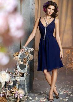 Knee length, navy blue dress