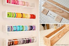 diy ribbon organizer shelf — Instead of making these for ribbon, I think it would make a good paper roll caddy for large paper so Bekah can cut pieces as she needs them. What do you think?