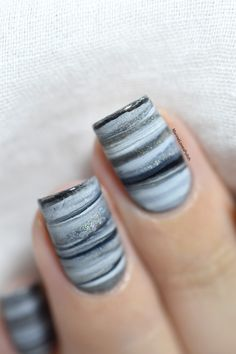 Fifty shades of Grey dry marble nail art tutorial.