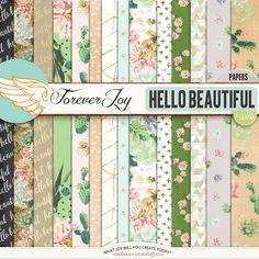 Digital Scrapbooking Kit - HELLO BEAUTIFUL Page Kit | ForeverJoy Designs