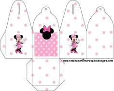 Minni in Rose Polka Dots: Free Printable Party Boxes. Mickey E Minnie Mouse, Minnie Baby, Mickey Party, Cardboard Box Crafts, Paper Crafts, Printable Box, Printables, Paper Box Template, Diy Gift Box