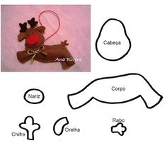ARTE COM QUIANE - Paps,Moldes,E.V.A,Feltro,Costuras,Fofuchas 3D: molde de natal: Rena de feltro