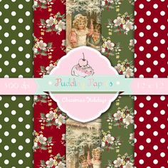 Christmas Holidays - Instant Download - Digital Collage Sheet - Scrapbook Papers - Christmas Printable - Decoupage Paper - Digital Download