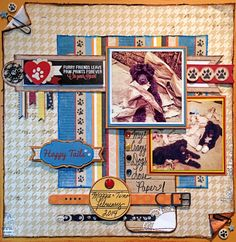 My Crazy Dogs Love Paper! - Scrapbook.com Love the distressed look made with Tim Holtz Distress Stain