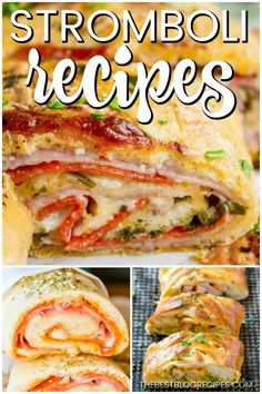 The Best Stromboli Recipes are about to change your life! You will not believe how beyond delicious these savory turnovers are! The Best Stromboli Recipes are about to change your life! You will not believe how beyond delicious these savory turnovers are! Entree Recipes, Lunch Recipes, Appetizer Recipes, New Recipes, Dinner Recipes, Cooking Recipes, Cheesy Recipes, Dinner Entrees, Pizza Recipes