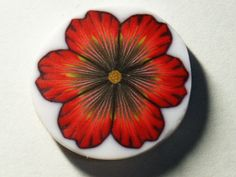 NEW Polymer clay red flower cane by elenadesignbead on Etsy, $4.20