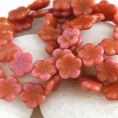 Czech Glass Flower Beads 14mm 5 Petal Two Tone Flower Beads (1 bead)  Pink Orange Amber