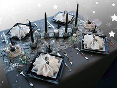Décoration de table Noël : gris noir blanc - Décorations Fêtes