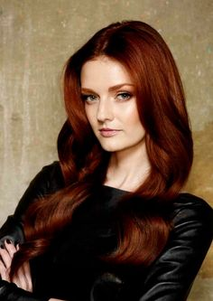 Love this shade of red on Lydia Hearst