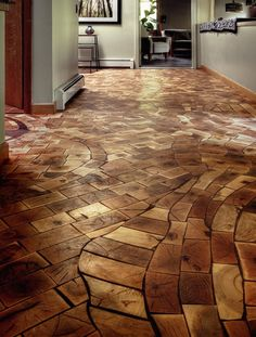 End-grain Flooring. This is stunning! love the organic curve of the lines and … End-grain Flooring. This is stunning! love the organic curve of the lines and 'mosaicness' of the flooring. lines Home Improvement Projects, Home Projects, Pallet Projects, Home Improvements, Pallet Crafts, Wooden Flooring, Hardwood Floors, Diy Wood Floors, Wood Tiles
