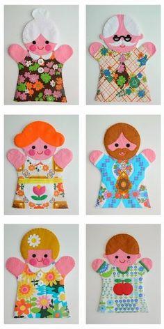 Cheerful people hand puppets super cute retro kitsch vintage , inspired childrens felt hand puppet designs to make Glove Puppets, Felt Puppets, Puppets For Kids, Felt Finger Puppets, Hand Puppets, People Puppets, Puppet Crafts, Felt Crafts, Crafts For Kids