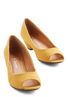 One, Cute, Three Heel. On the count of three, you smile for a picture with your besties, choosing a pose that puts these mustard-yellow heels on full display. #yellow #bridesmaid #modcloth