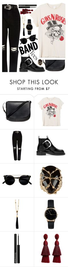 """""""Band Tempered"""" by jaeim ❤ liked on Polyvore featuring Mansur Gavriel, MadeWorn, River Island, Maison Margiela, Rosantica, Oscar de la Renta, Freedom To Exist, NYX and bandtees"""