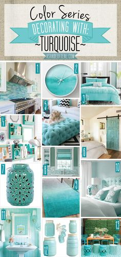 home decor blue Color Series; Decorating with Turquoise. Turquoise, teal, aqua, blue green home decor. Deco Turquoise, Bedroom Turquoise, Living Room Turquoise, Living Room Decor Turquoise, Turquoise Bathroom Decor, Green Turquoise, Aqua Decor, Turquoise Accents, Shades Of Turquoise