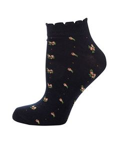 Black Pattern (Black) Black Floral Trainer Socks | 270908009 | New Look
