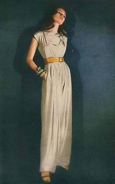 Clare Potter 1946, part of the post-war sportwear look mid late 40s casual jumpsuit pants tan brown sandals vintage fashion pantsuit