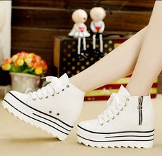 New Women Canvas Shoes Platform Single Shoes High Top Elevator Casual Women High Heels Shoes Nice New Spring Autumn Woman Shoes