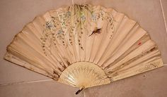 Antique VICTORIAN Large Ladies Hand Fan Silk Painted Flowers and Bird (1917)