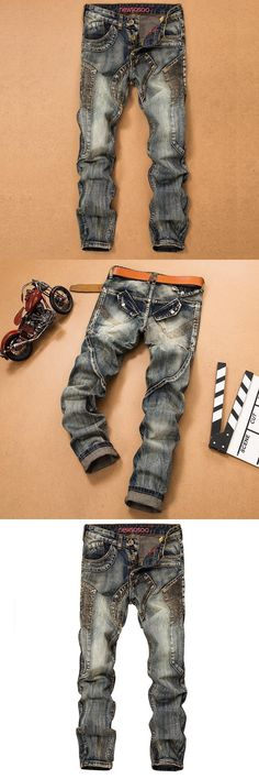 New Arrival Cheap Men Denim Ripped Jeans Street Style American Locomotive Biker Jeans Hip Hop Distressed Jeans For Men