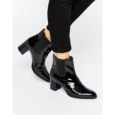Park Lane Heeled Chelsea Boots (315 SEK) ❤ liked on Polyvore featuring shoes, boots, ankle booties, black, black patent leather booties, black block heel boots, black patent booties, black patent leather boots and black pointed toe boots
