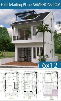 Samphoas plan narrow house plans, modern house plans, dream house p Narrow House Plans, Modern House Plans, Small House Plans, 3d House Plans, Duplex House Plans, Bungalow House Design, Small House Design, Modern House Design, House Blueprints