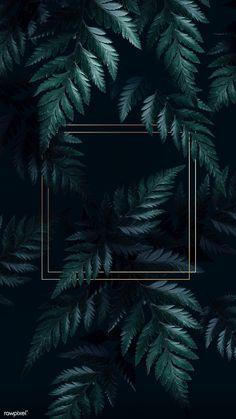 premium illustration of Square golden frame on a tropical - Square golden frame on a tropical background Framed Wallpaper, Phone Wallpaper Images, Plant Wallpaper, Tropical Wallpaper, Iphone Background Wallpaper, Dark Wallpaper, Aesthetic Iphone Wallpaper, Aesthetic Wallpapers, Phone Wallpapers