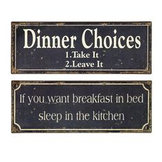 2 Piece Breakfast & Dinner Wall Décor Set. I want these!! They would be a great addition to my existing signs.