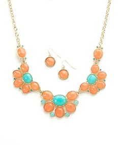 Coral & Turquoise Oval Stone Bib Necklace & Earring Set by Ethel & Myrtle #zulily #zulilyfinds