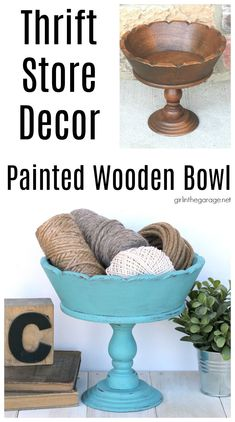 How to Chalk Paint a Wooden Bowl. Save money with these clever thrifted home decor ideas by Girl in the Garage Romantic Shabby Chic, Shabby Chic Cottage, Provence Chalk Paint, Annie Sloan Chalk Paint Projects, Transforming Furniture, Aesthetic Room Decor, Wooden Bowls, Wooden Letters, Eclectic Decor