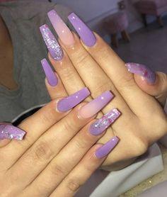 Hair Acrylic nails purple Acrylic nails brown pink Acrylic nails Acrylic nails maroon clear Acrylic na Purple Acrylic Nails, Best Acrylic Nails, Acrylic Nail Designs, Purple Ombre Nails, Pink Purple, Purple Nail Designs, Light Purple Nails, Purple Hair, Aycrlic Nails