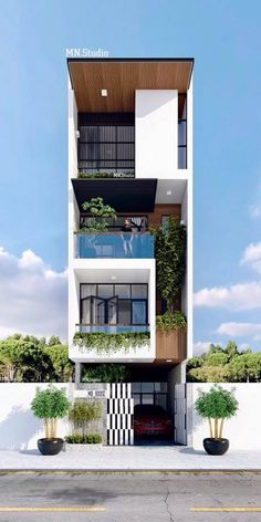 39 Pretty Small Exterior House Design Architecture Ideas – My World Narrow House Designs, Narrow House Plans, Bungalow House Design, House Front Design, Minimalist House Design, Modern House Design, Flat House Design, Modern Exterior House Designs, Building Design